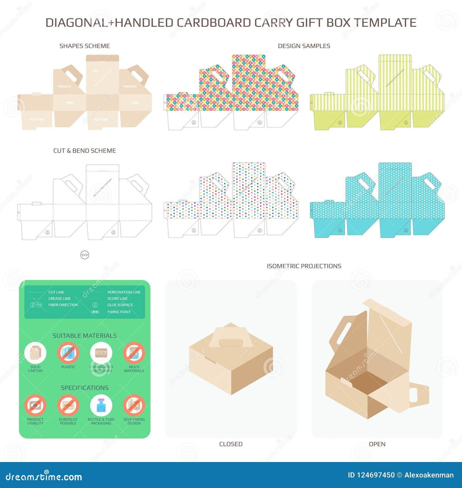 Vector Diagonal Handled Carry Cardboard Gift Box Templates Set