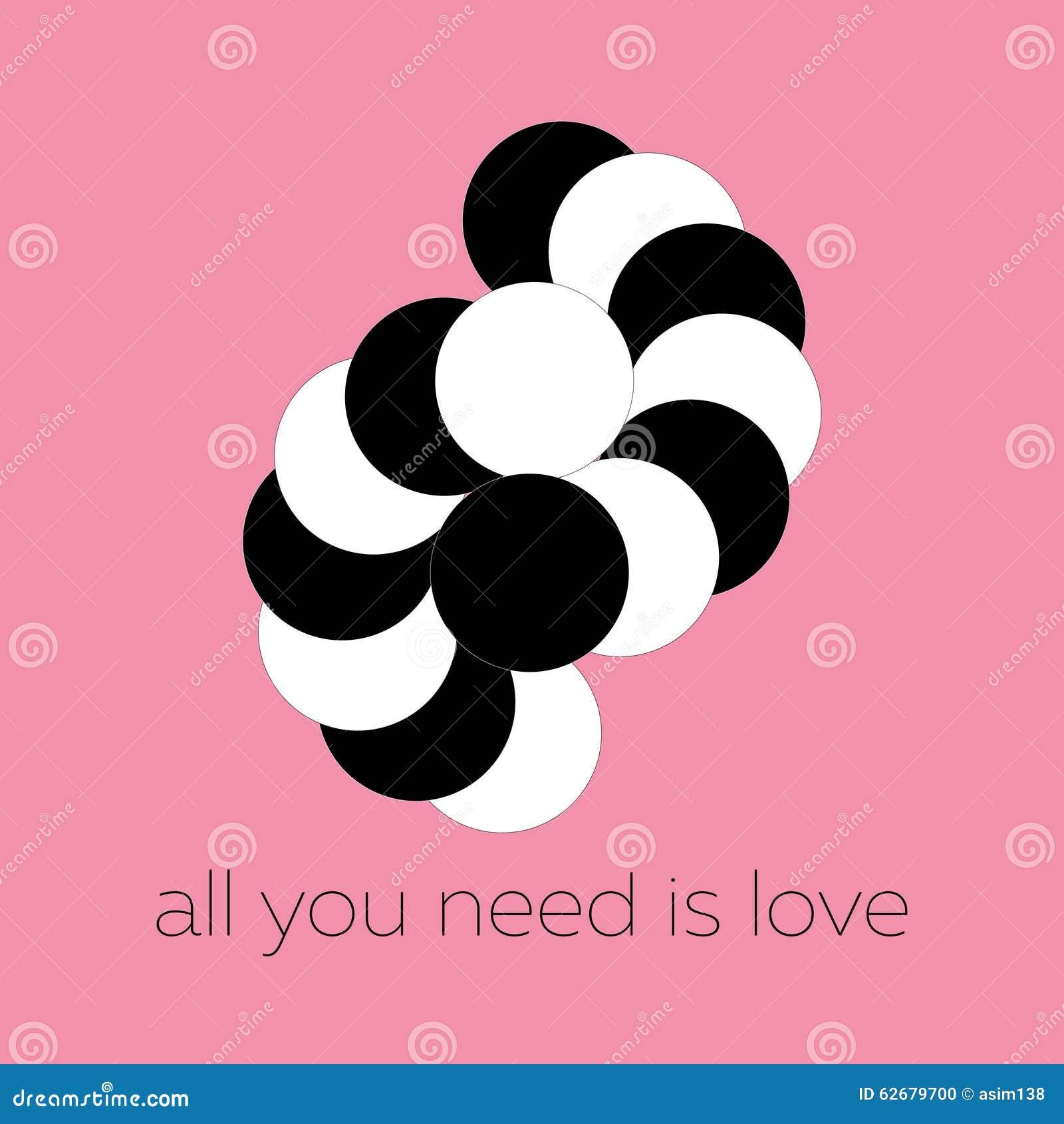 Vector die abstrakten Schwarzweiss-Kreise, die ein umarmendes Paar formen