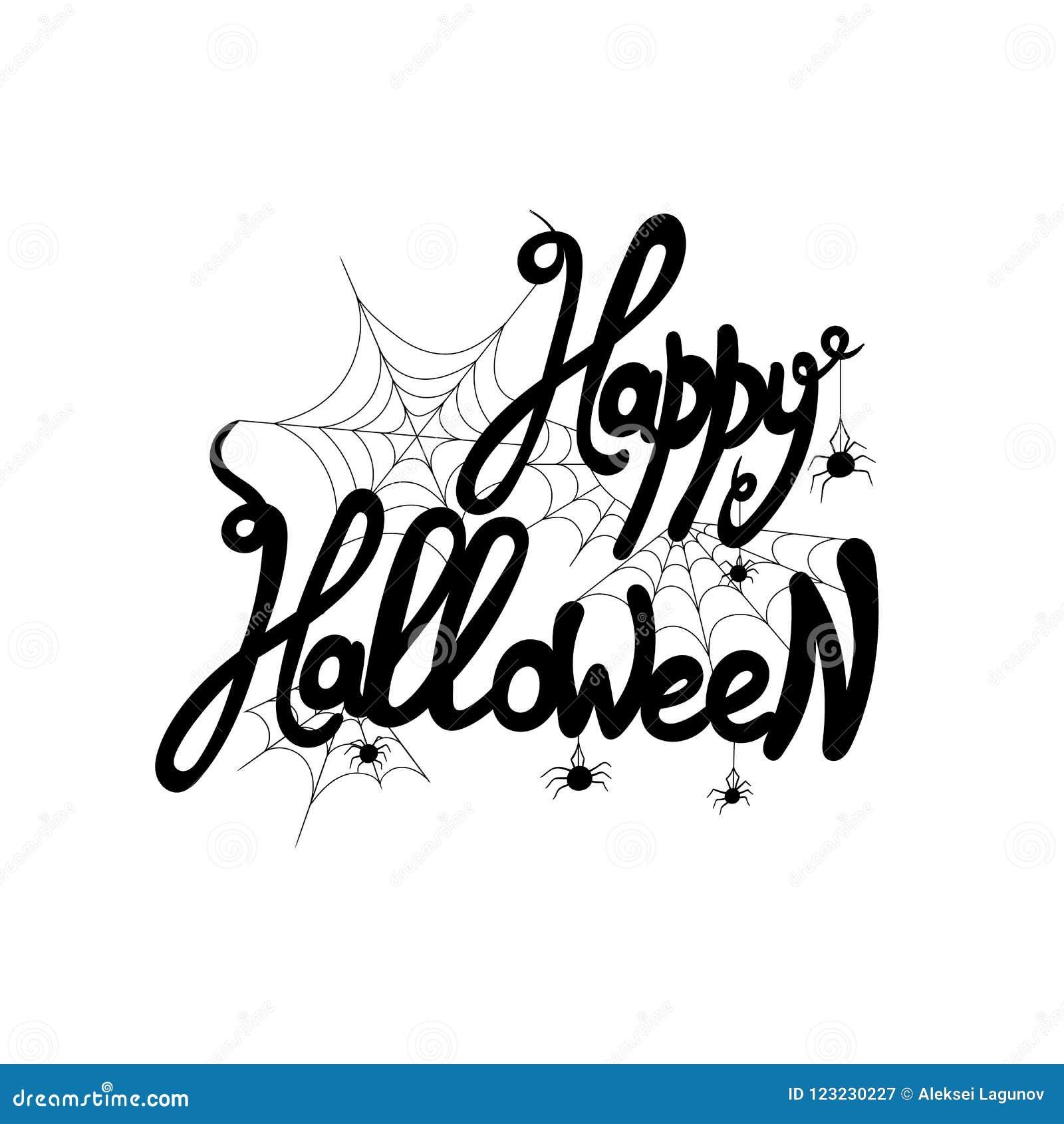 Vector die Gelukkig Halloween van letters voorzien! Met Web en Spin, 31 Oktober Groetkaart