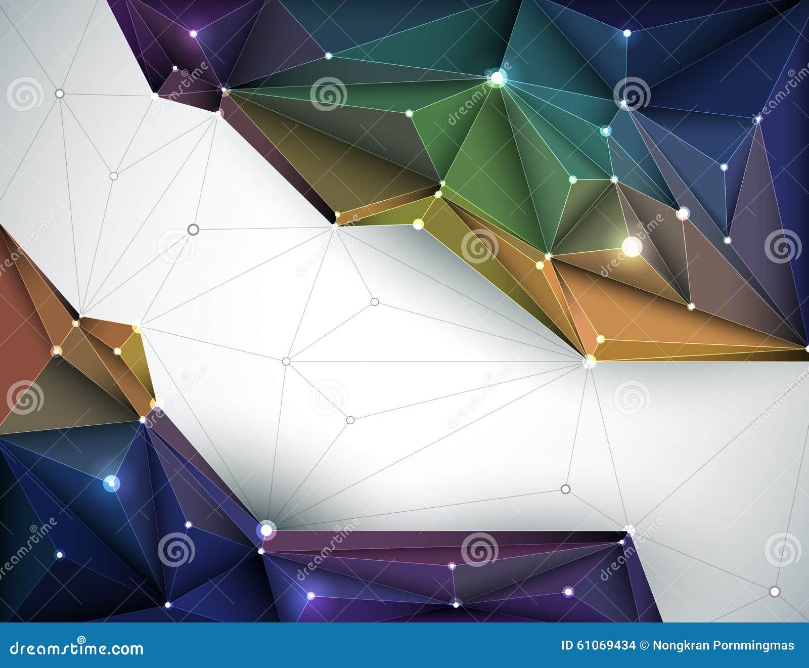 Vector die Illustration abstraktes 3D geometrisch, polygonal, Dreieckmuster in der Molekülstrukturform