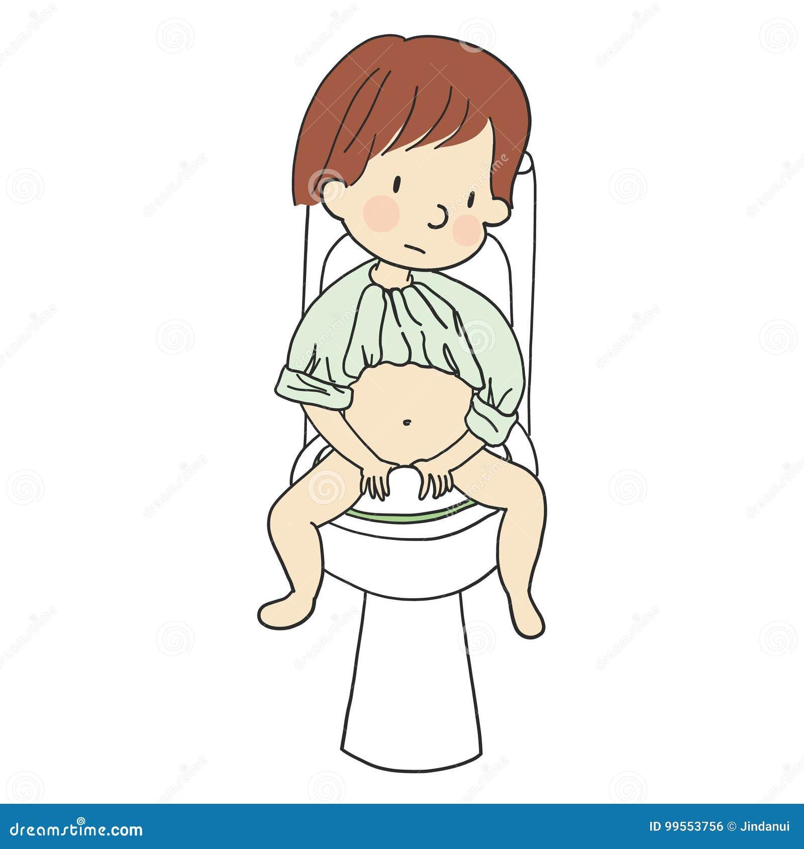 Vector Die Illustration Des Kleinkindes Sitzend Auf Einer Toilette