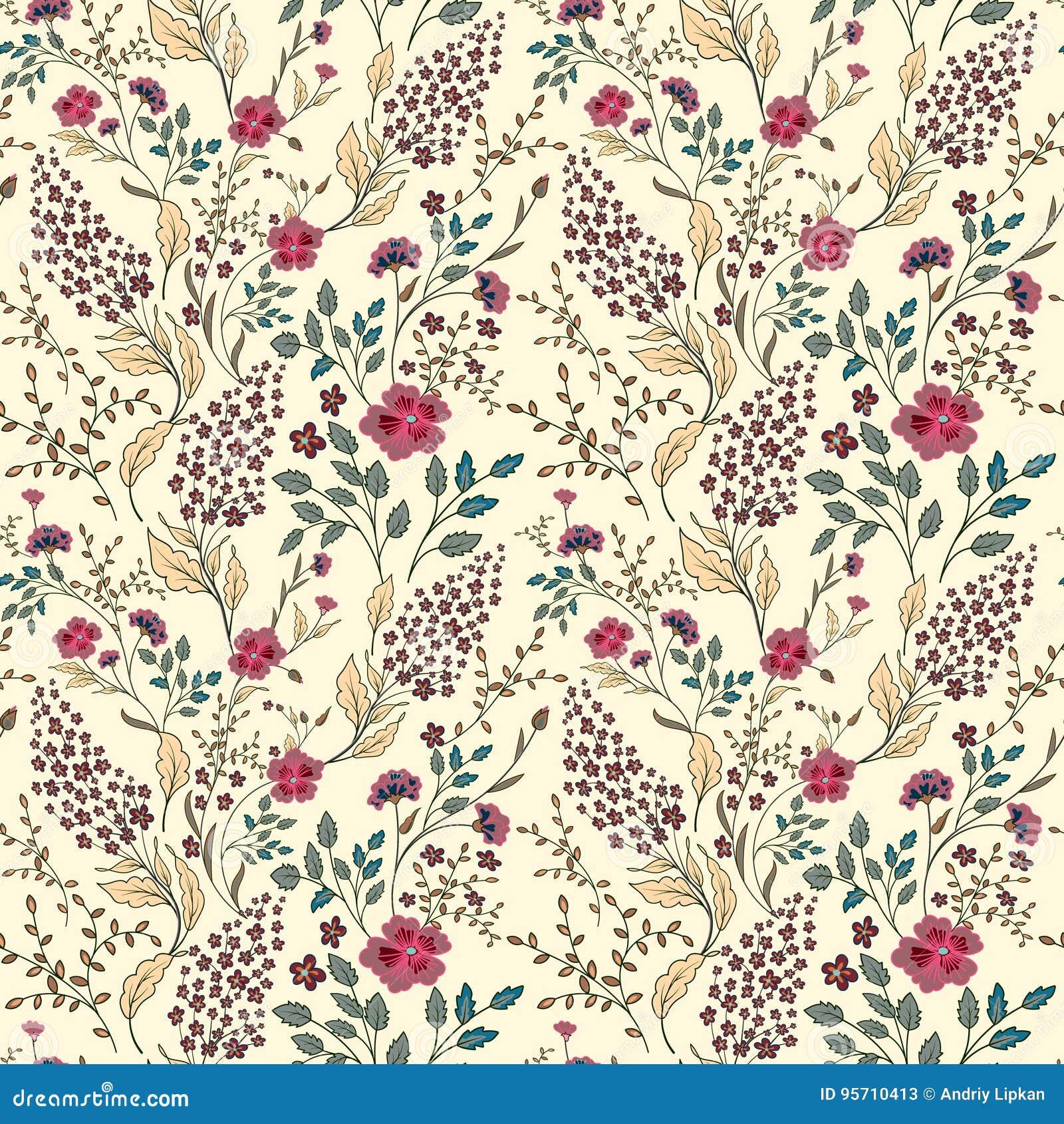 Vector die nahtlose helle bunte leichte Hand, die wenigem ditsy Blumenmuster gezeichnet wird Helles Blumen ganz über Druck auf Sc
