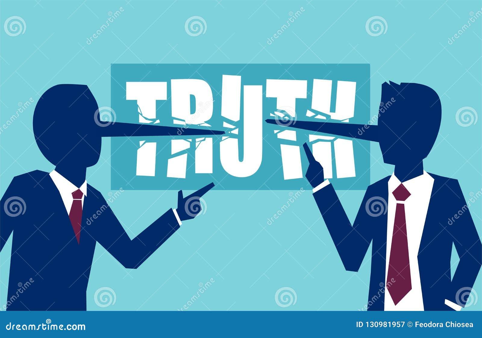 Vector die van twee zakenliedenpolitici aan elkaar dishonestly liggen belangrijke zaken