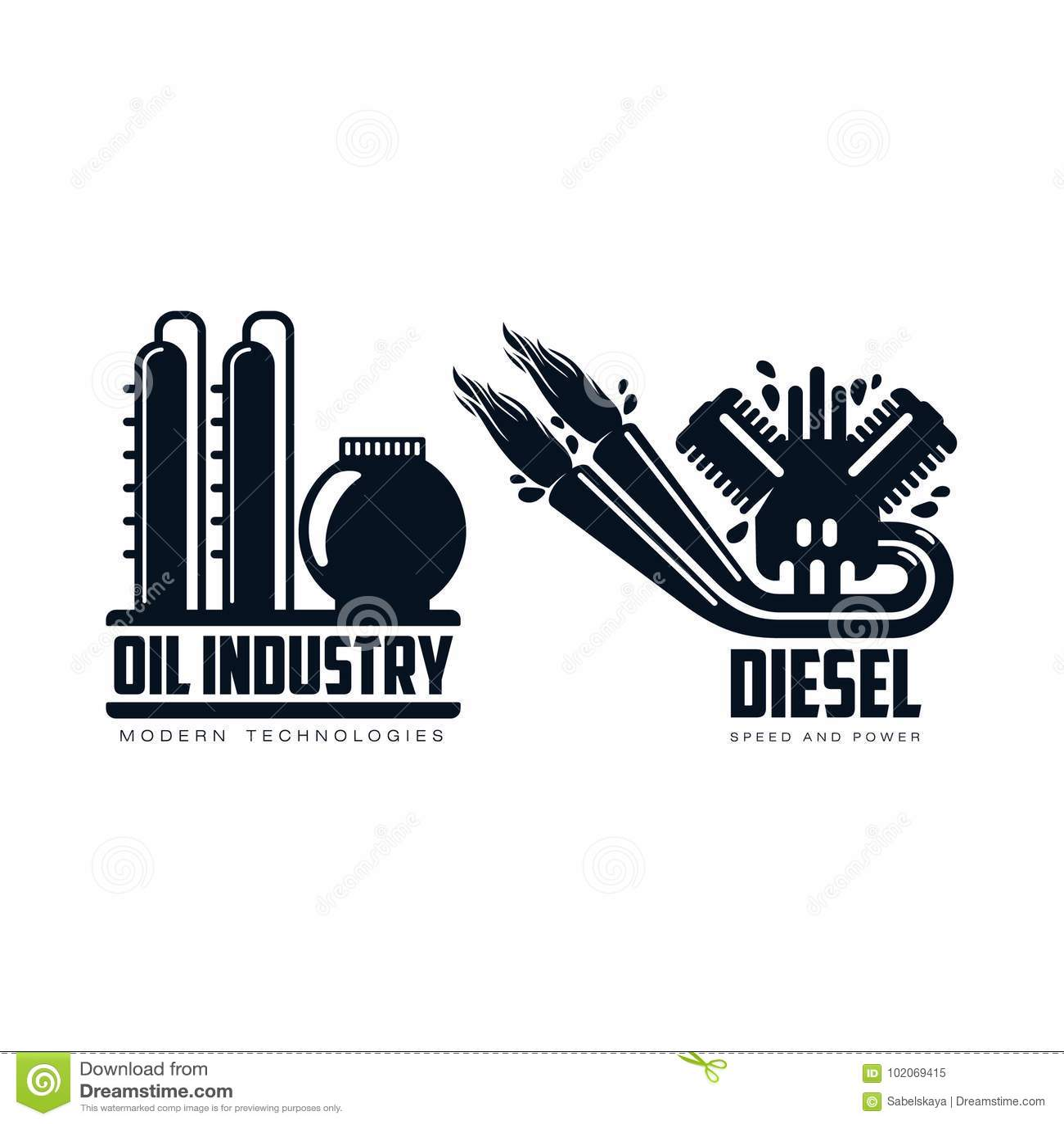 Vector Flat Icon Gasoline Engine Oil Refinery Set Stock Vector