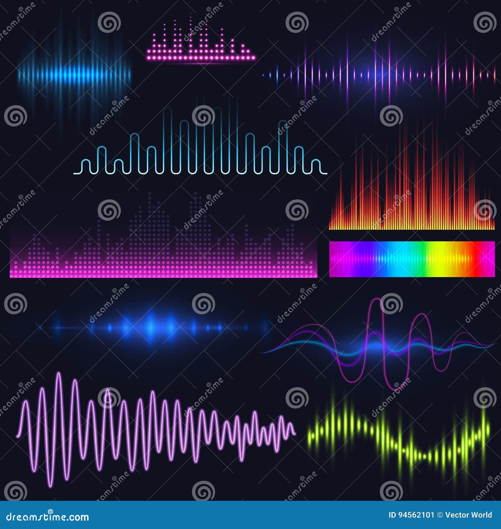 Vector Digital Music Equalizer Audio Waves Design Template Audio