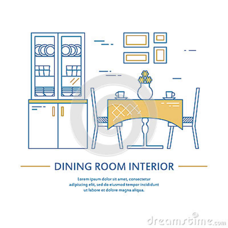 Vector dining room interior design brochure cover in line style. Flyer home decoration. Business presentation
