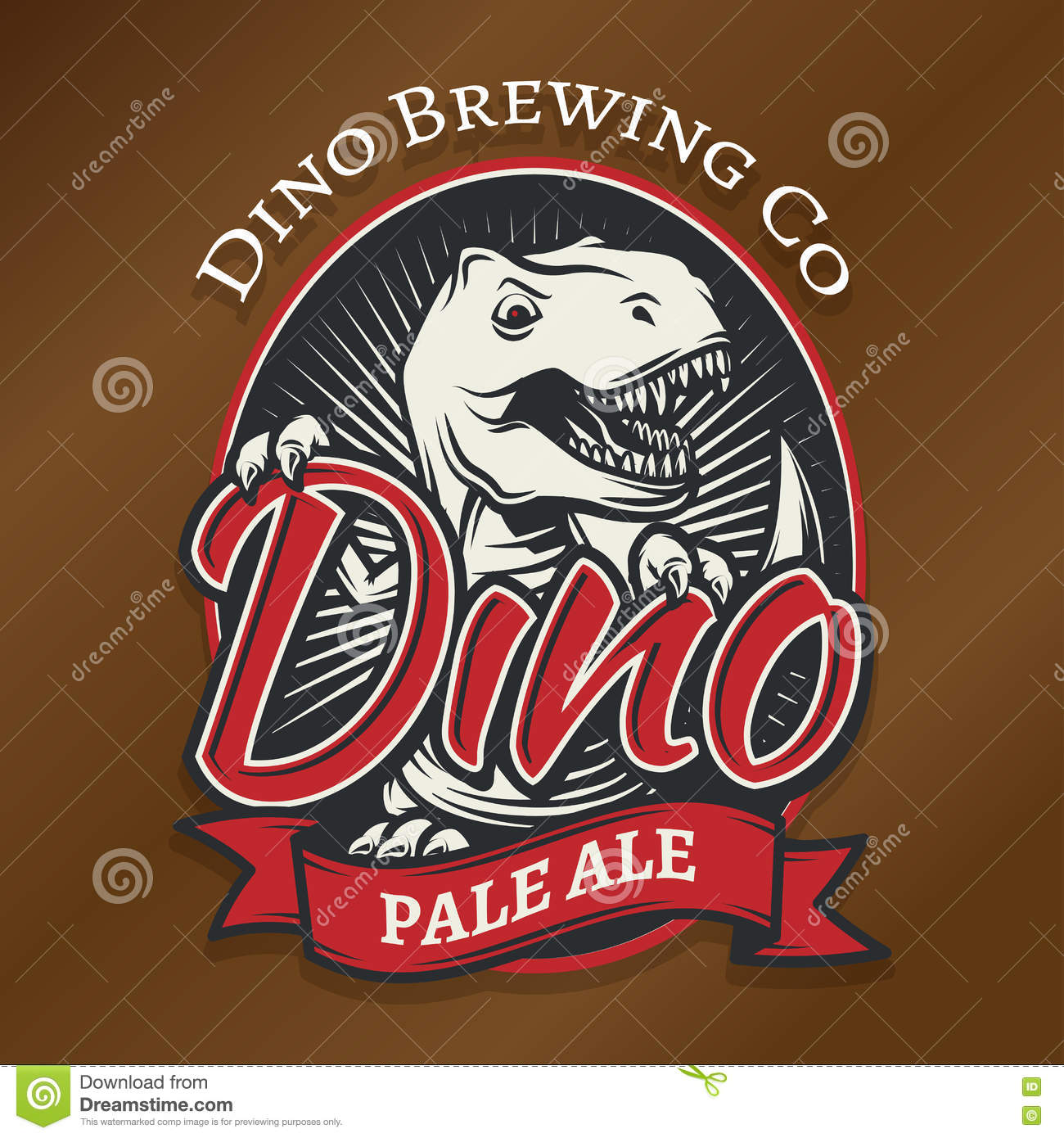 05b5180de Vector dino craft beer logo concept. T-rex bar insignia design. Pale ale  label template. Vintage Jurassic period illustration. Tyrannosaurus T-shirt  badge
