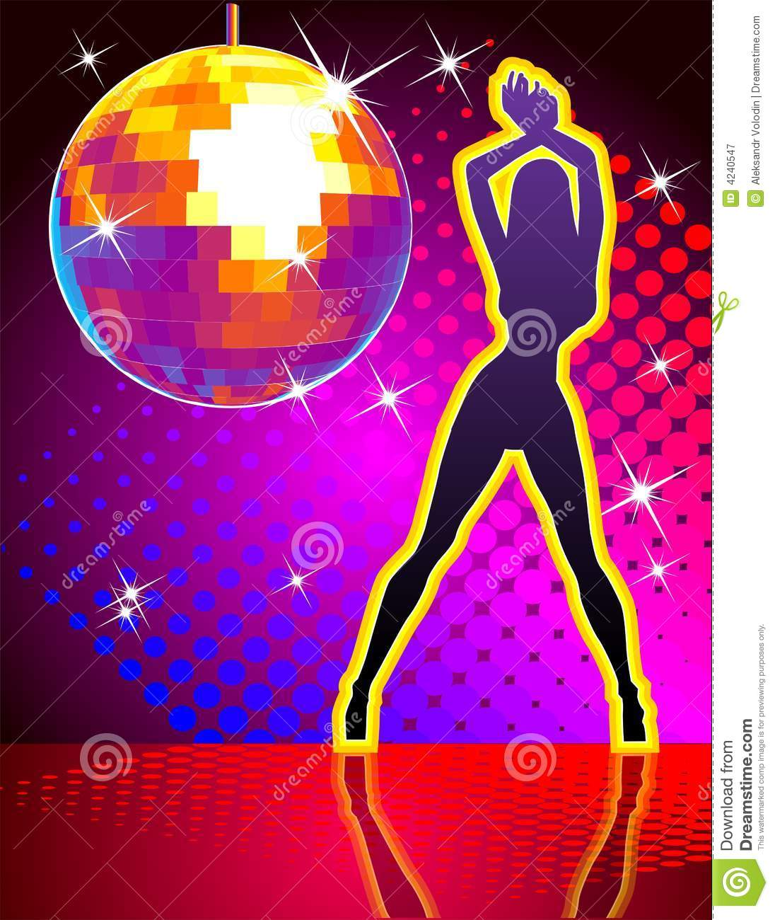 Vector illustration. Hi-detailed disco ball with abstract background ...