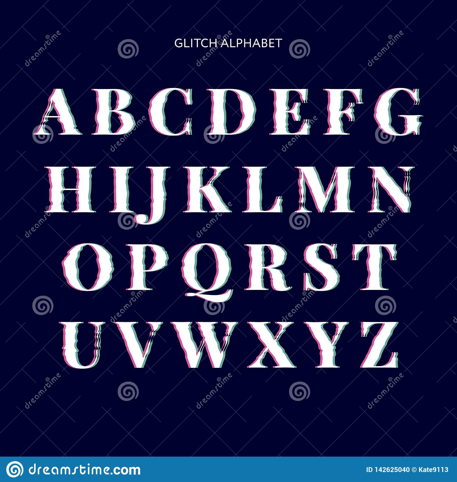 Vector distorted glitch font. Trendy style lettering typeface. Latin letters from A to Z