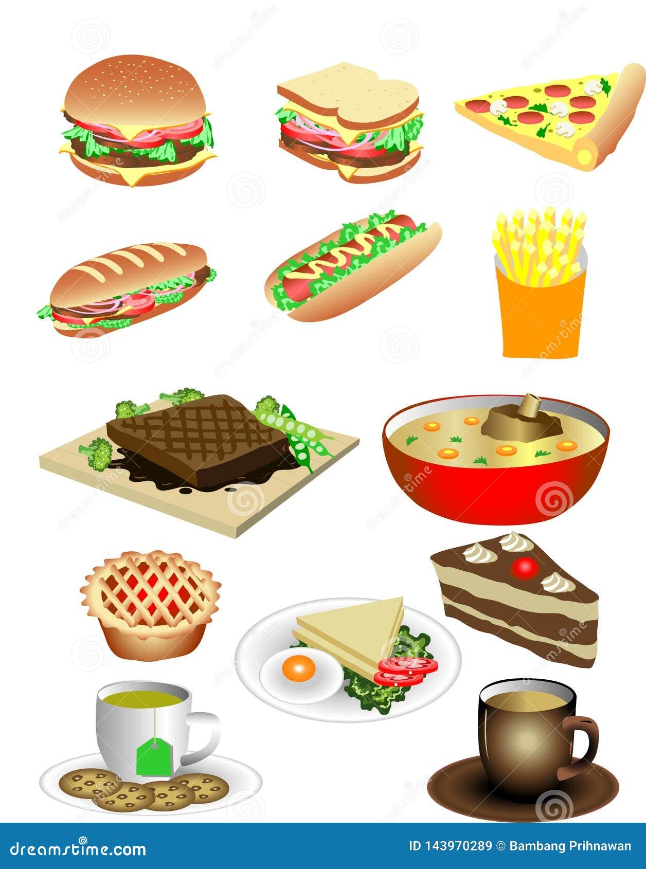 Vector Diverse het Voedselillustratie van het Sandwichontbijt
