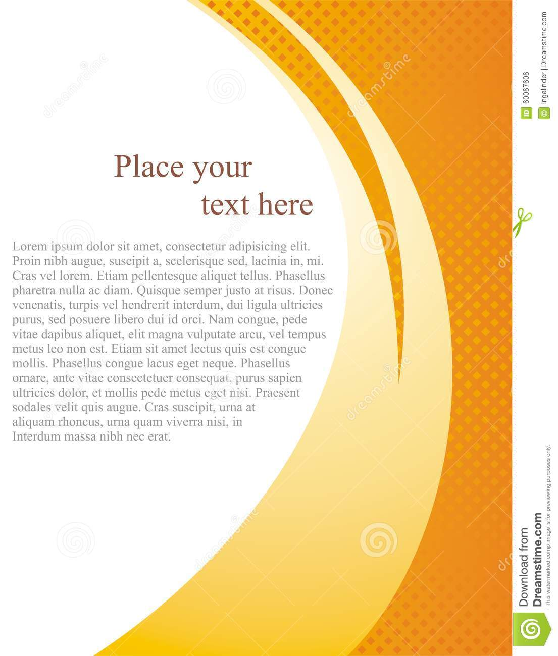 Document Page Template With White Background And Abstract Orange Wave