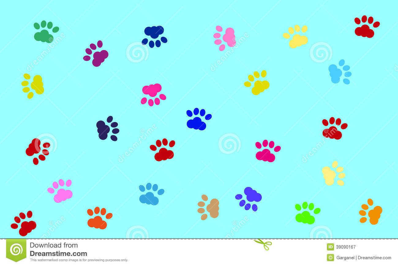 Vector Dog Paws Background Stock Illustration