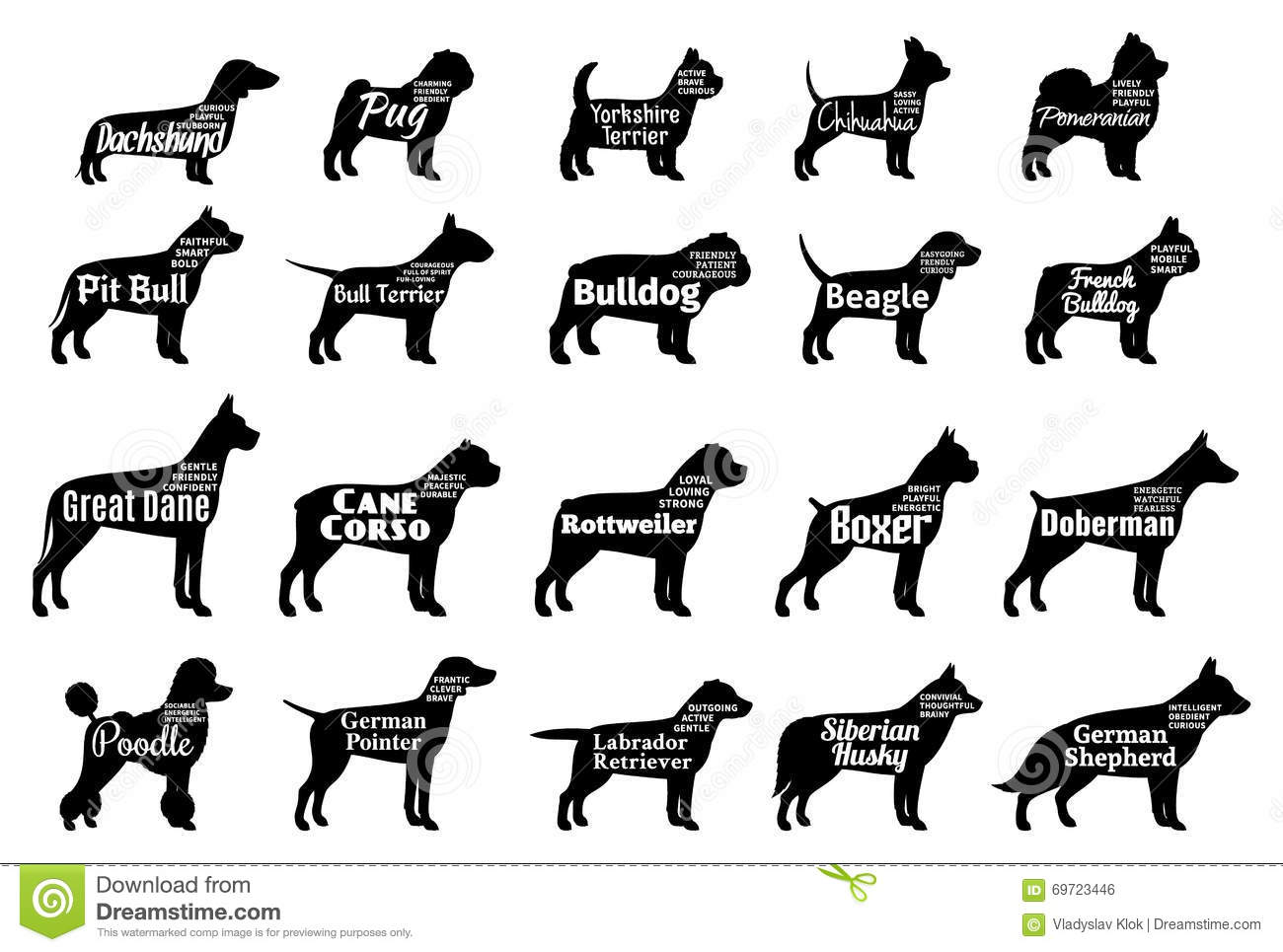 Vector Dog Silhouettes Collection On White  Dogs Breeds Stock Vector