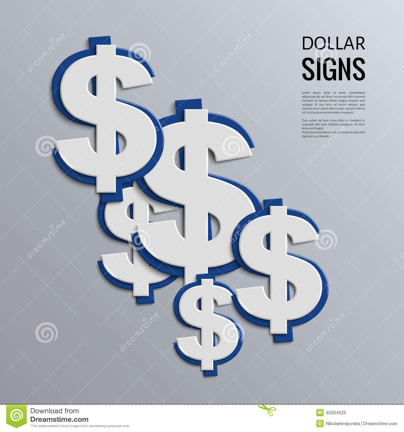 vector dollar signs on blue background stock vector