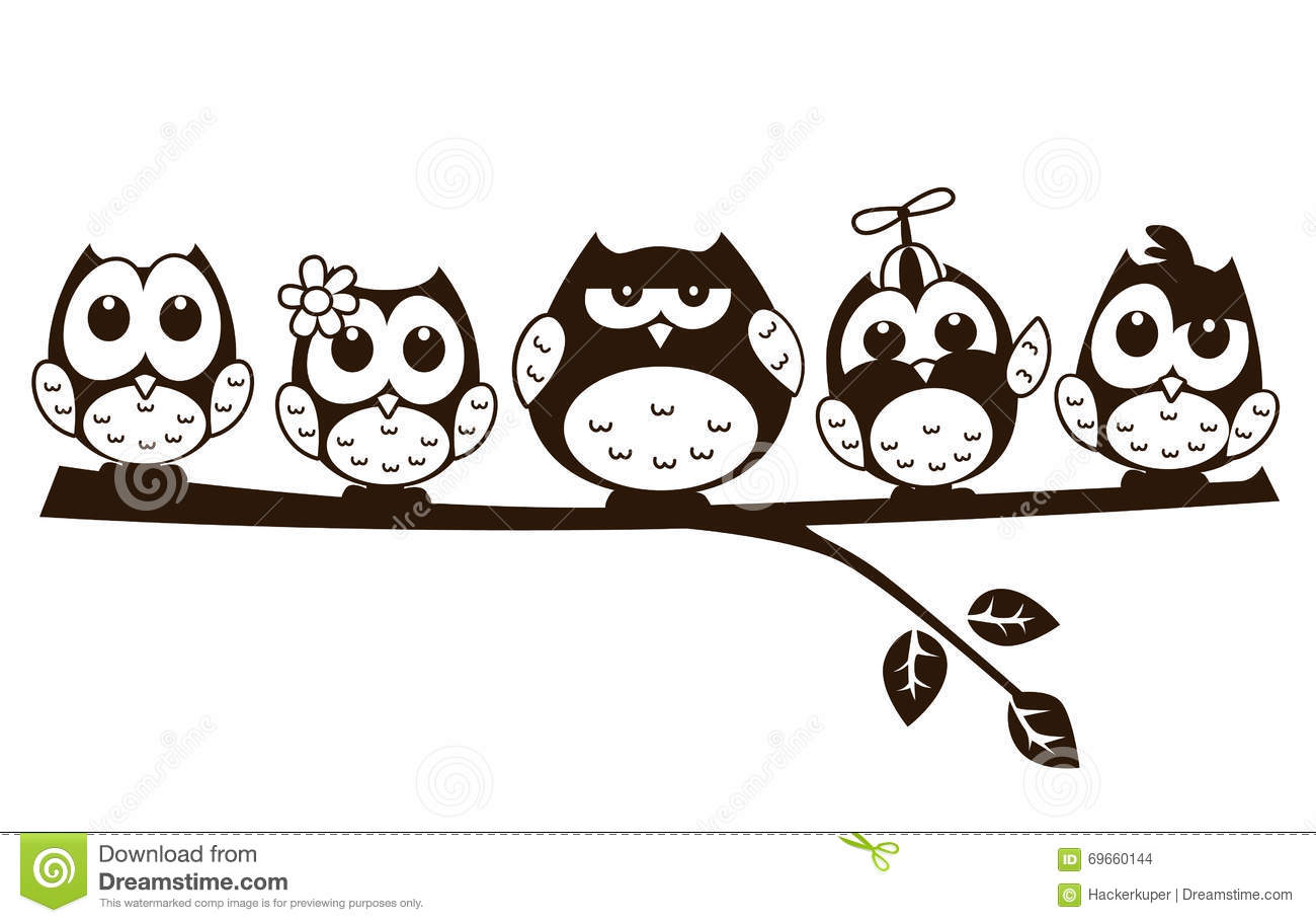 vector doodle cartoon cute owl in various character stock