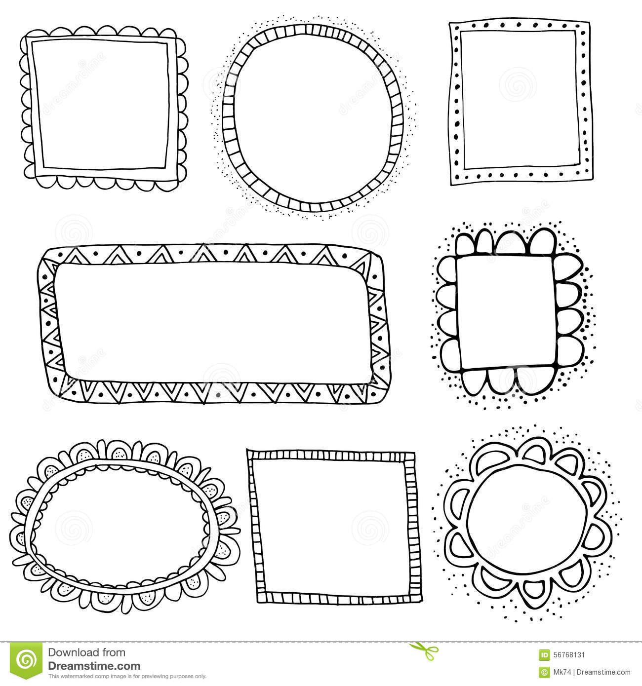 Vector doodle frames stock vector. Illustration of label ...