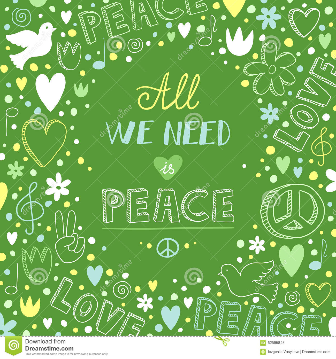 Love Peace Quotes Vector Doodle Green Love And Peace Theme Background With Quote A