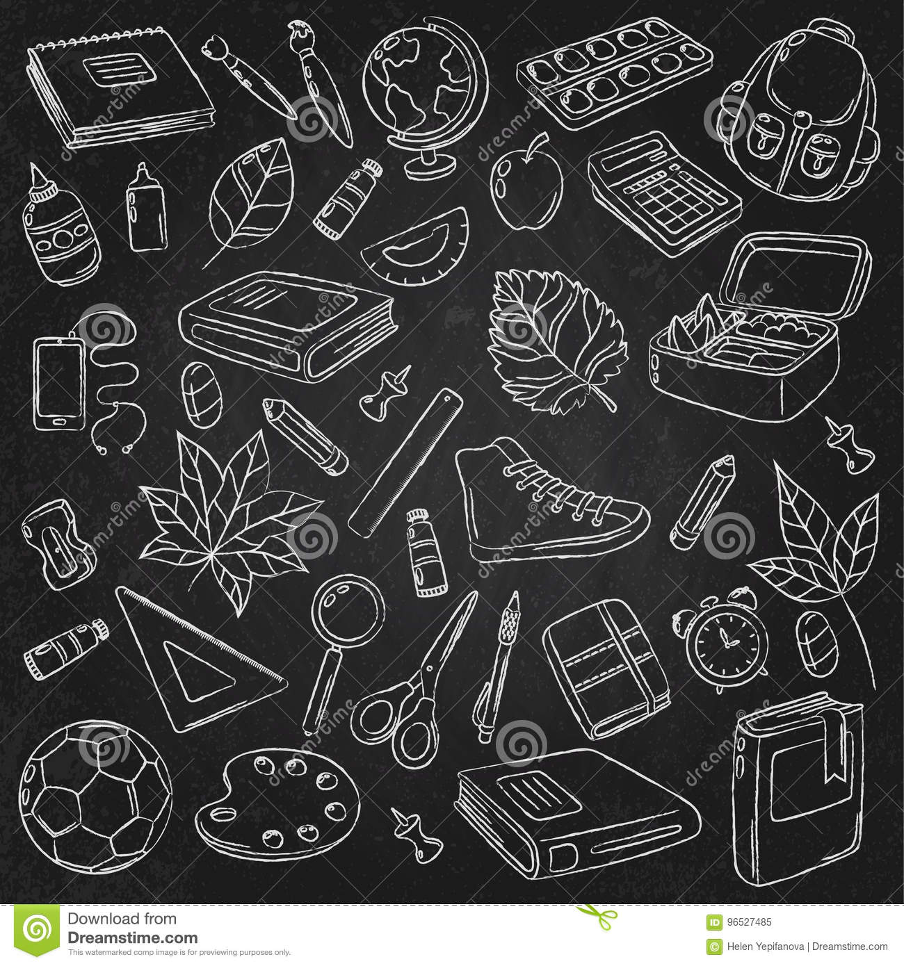 Vector Doodle Icons Collection School Supplies Back To School The