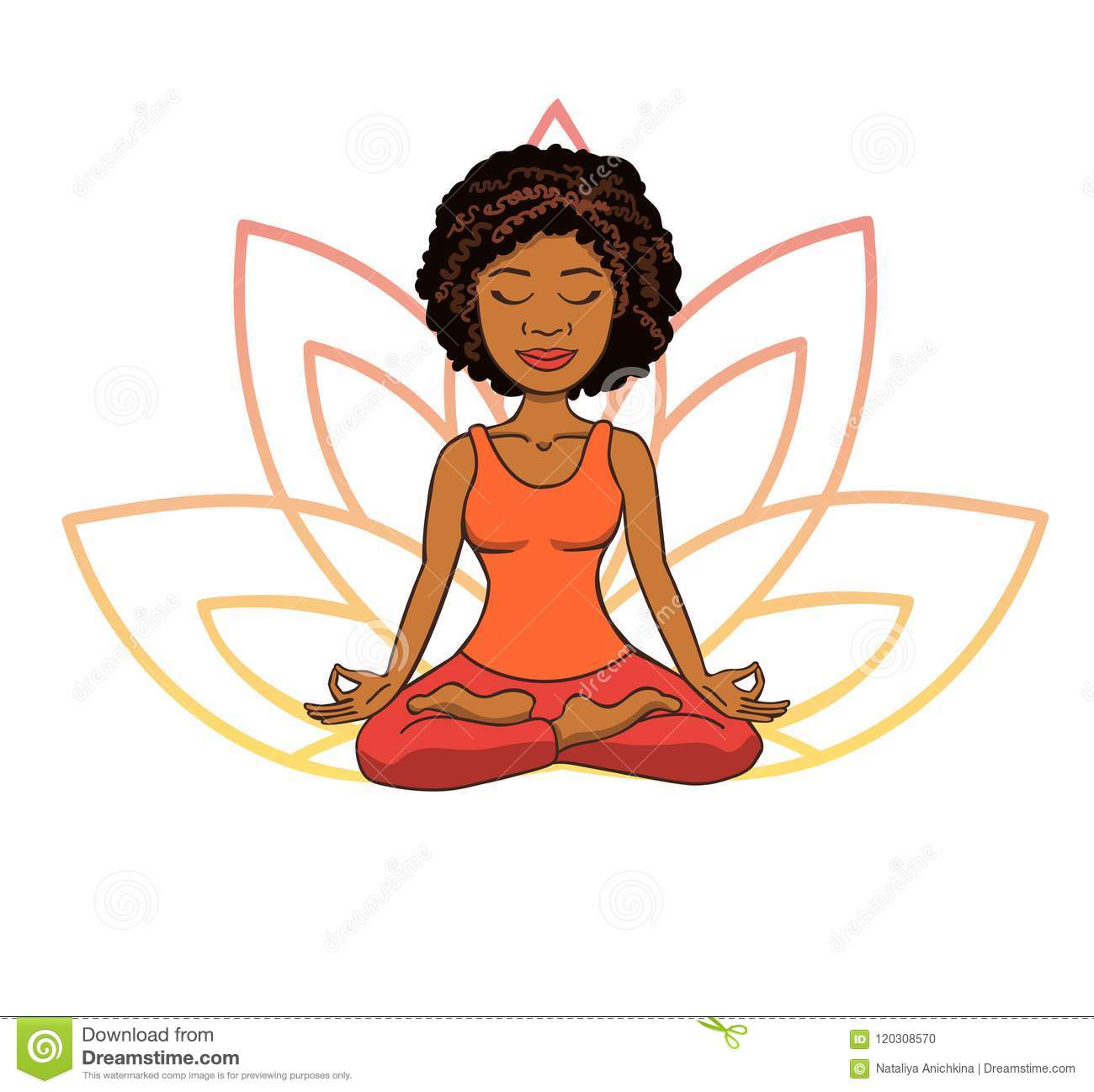 Vector Doodle Illustration Of Cute Young African Girl Meditating In