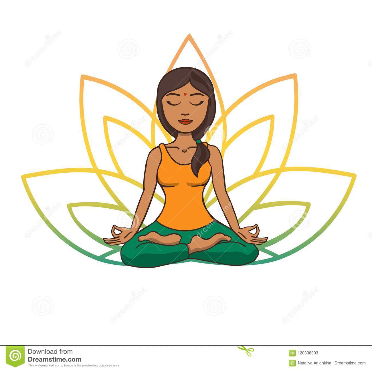 Vector Doodle Illustration Of Young Cute Indian Girl Meditating In