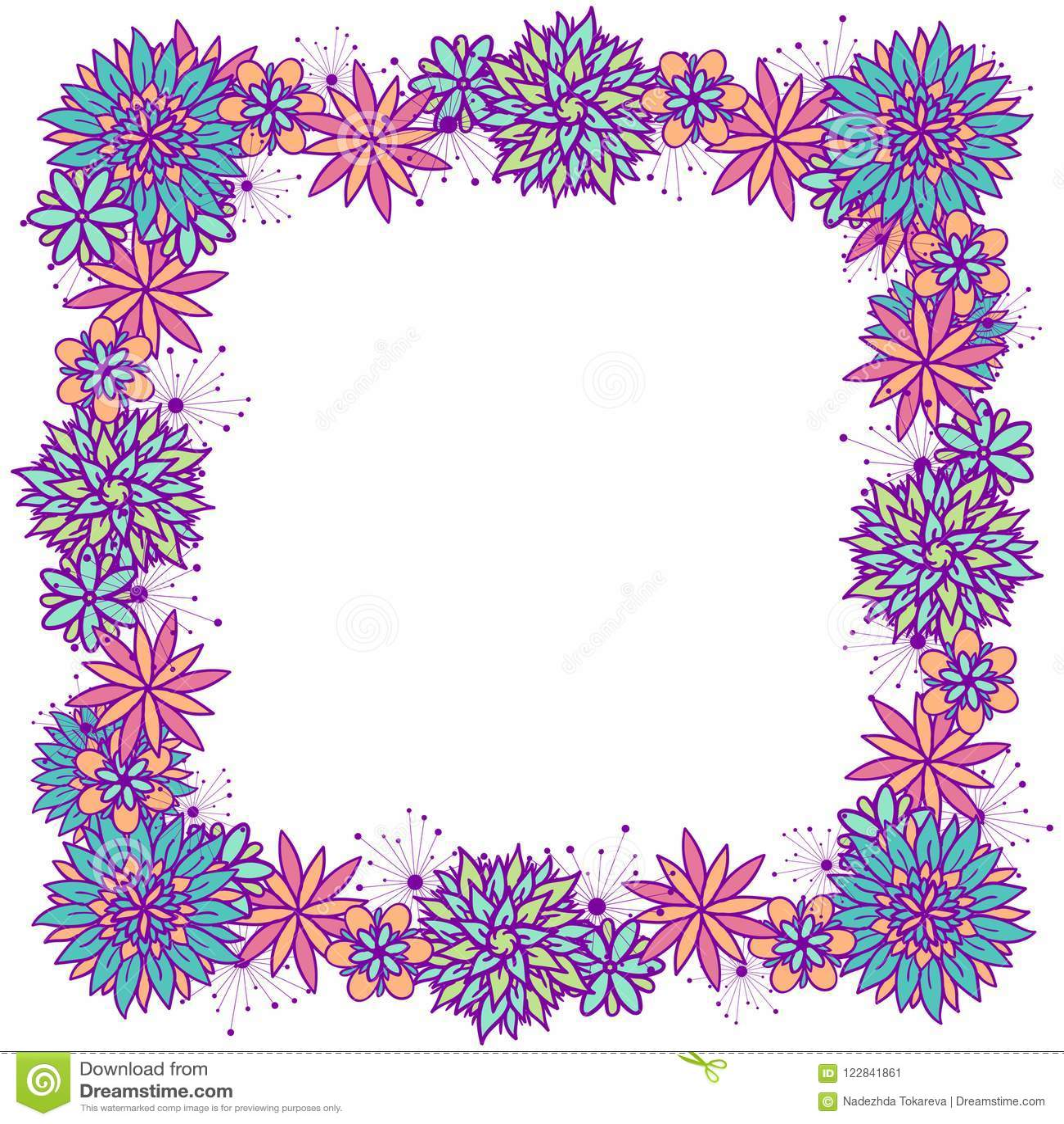 Vector Doodle Square Floral Frame For Girls Stock Illustration