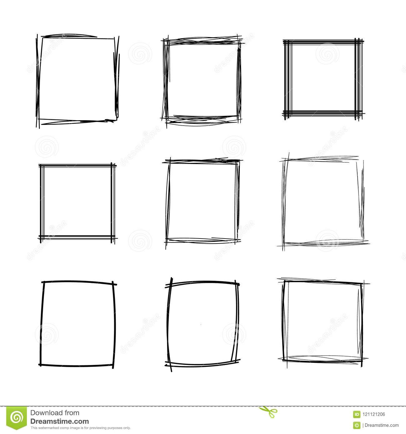 Vector Doodle Squares Set, Blank Frames Collection, Black Scribble Geometric Shapes Isolated.
