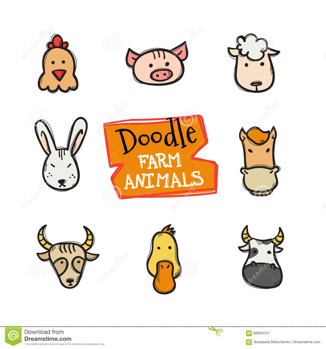 Farm animal heads isolated stock vector illustration of bunny vector doodle style farm animals icons set cute hand drawn collection of animal heads royalty biocorpaavc Gallery