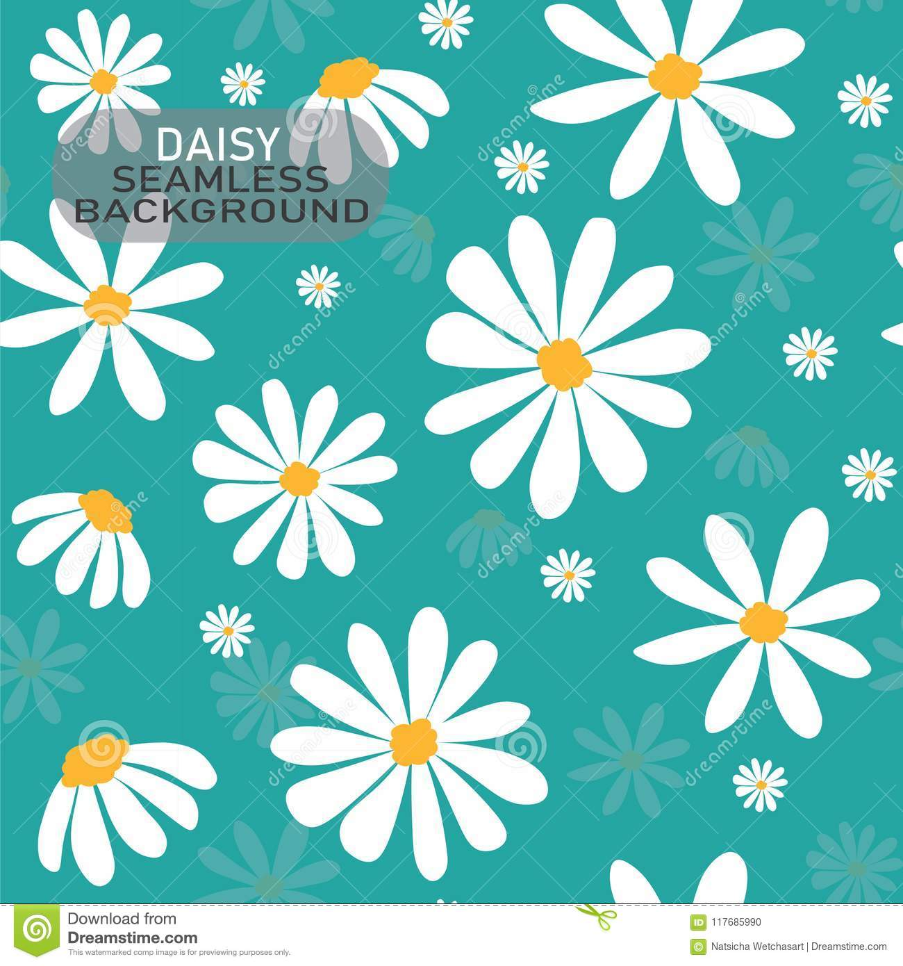 Vector doodle white daisy flower pattern on pastel mint green background, seamless background