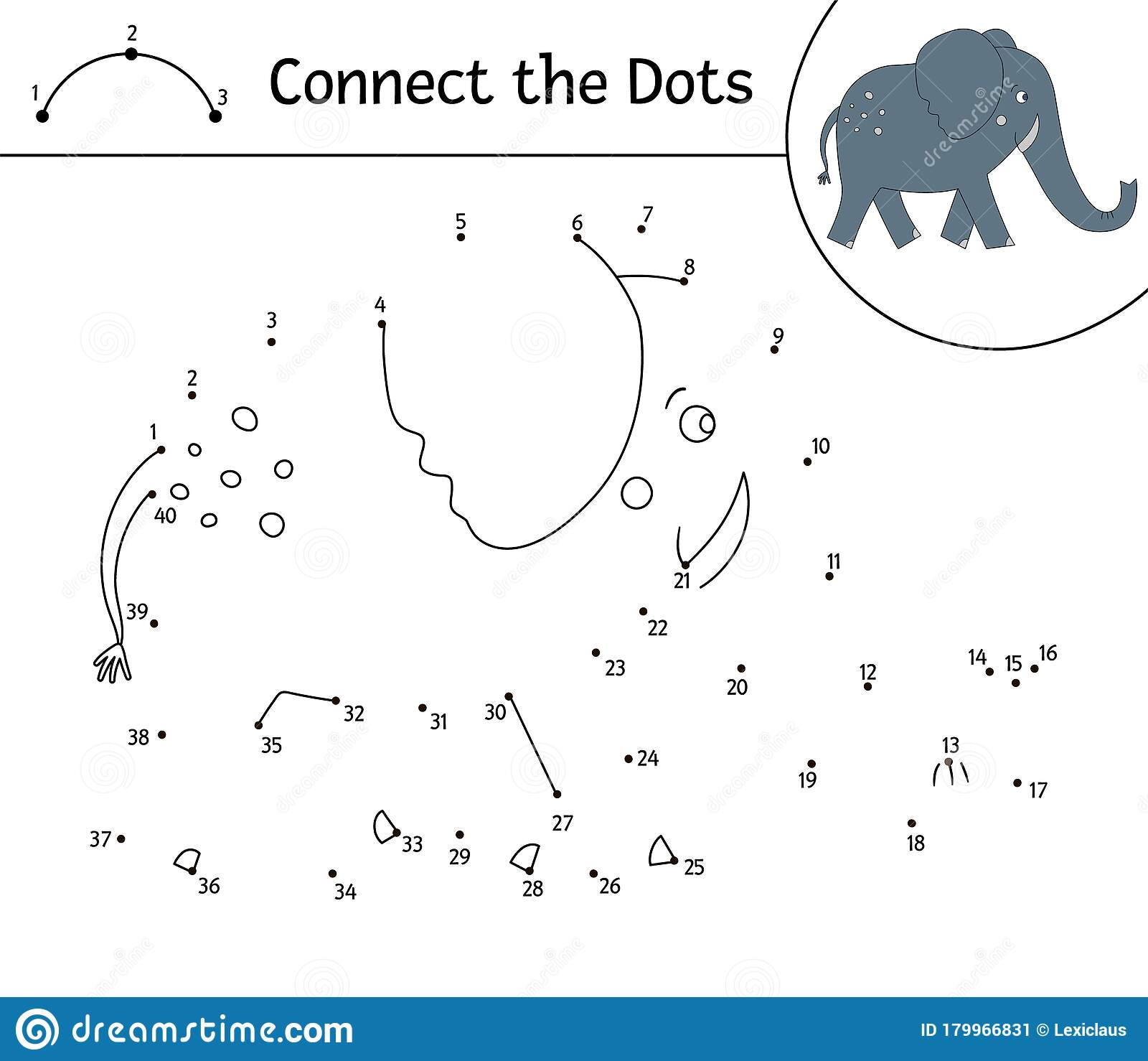 Vector Dot to dot Activity With Cute Animal. Connect The Dots Game ...
