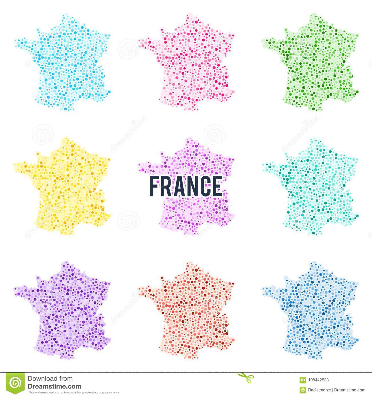 Map Of France For Children.Vector Dotted Colourful Map Of France Stock Vector Illustration