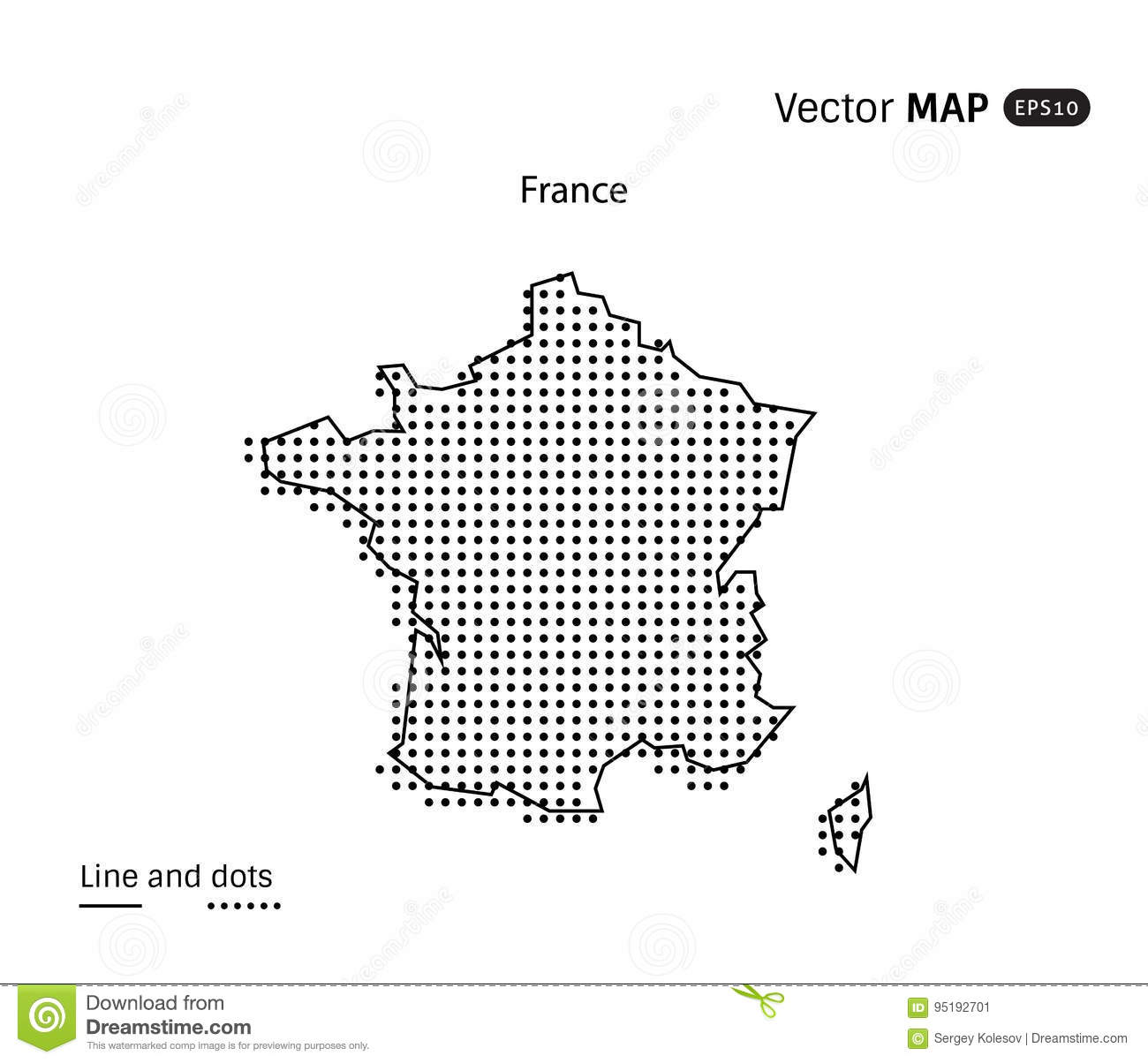 Vector Dotted France Map stock vector. Illustration of shape ...