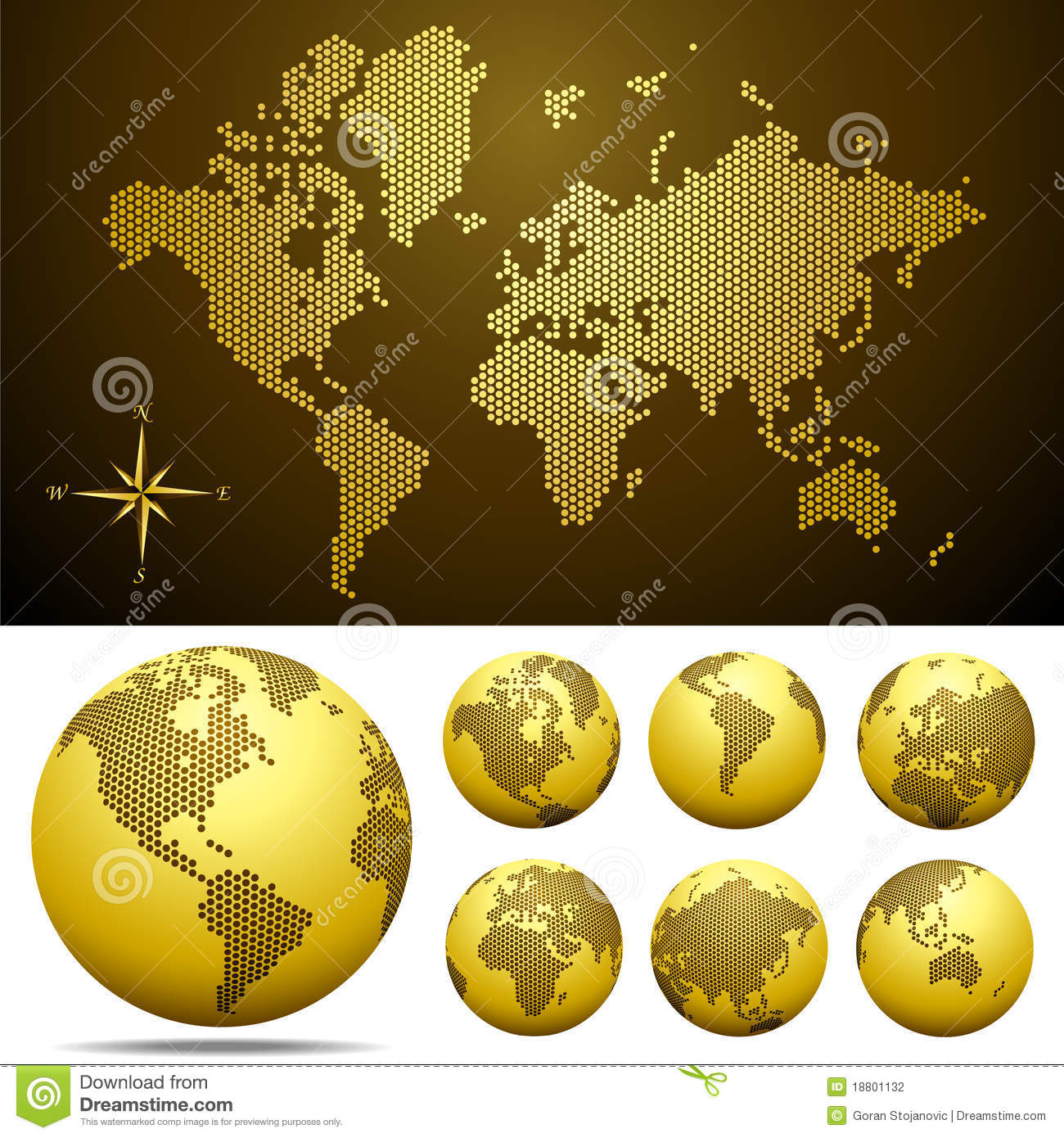 Vector dotted map and globe of the world gold stock vector vector dotted map and globe of the world gold gumiabroncs Gallery