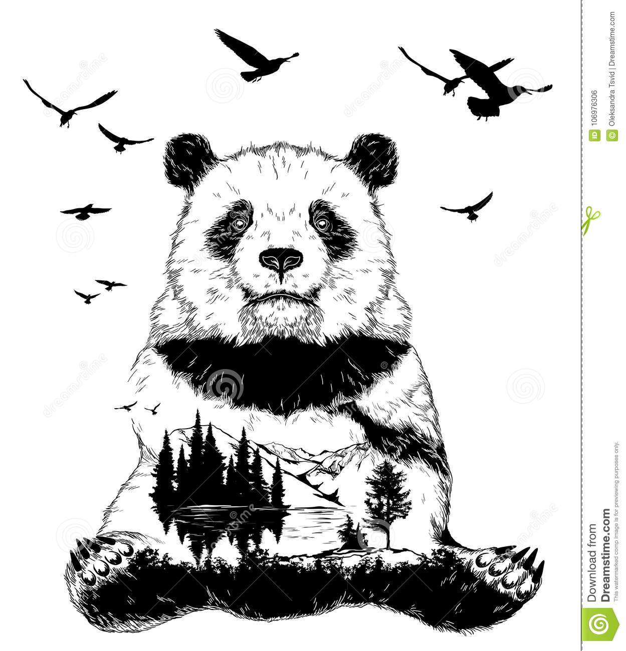 Double exposure, panda bear and forest landscape