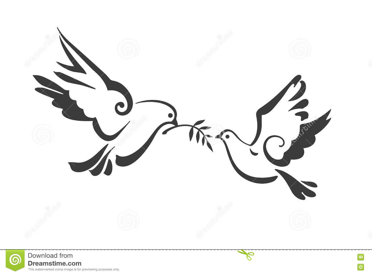 Vector Doves isolated on white. Peace Dove with olive branch. EPS