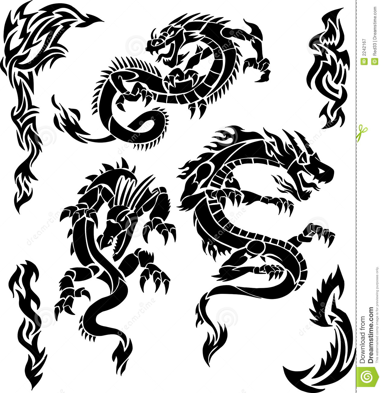 Vector Dragon Icons Royalty Free Stock Photography  Image