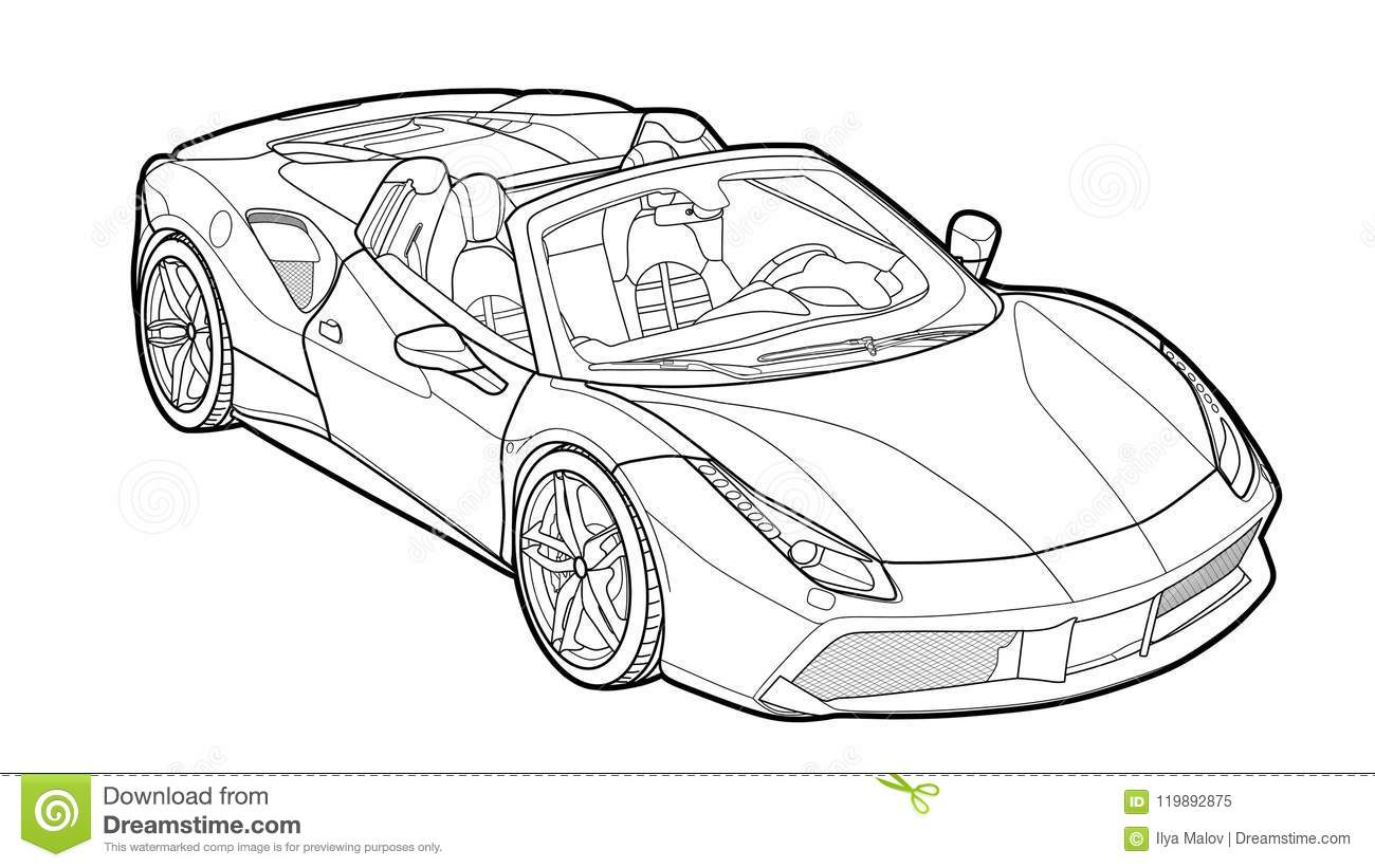 Vector Draw Of A Flat Sport Car With Black Lines Stock Vector