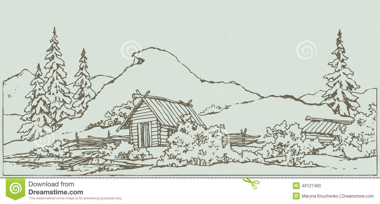 vector drawing ancient rural landscape vector freehand ink scene in ...