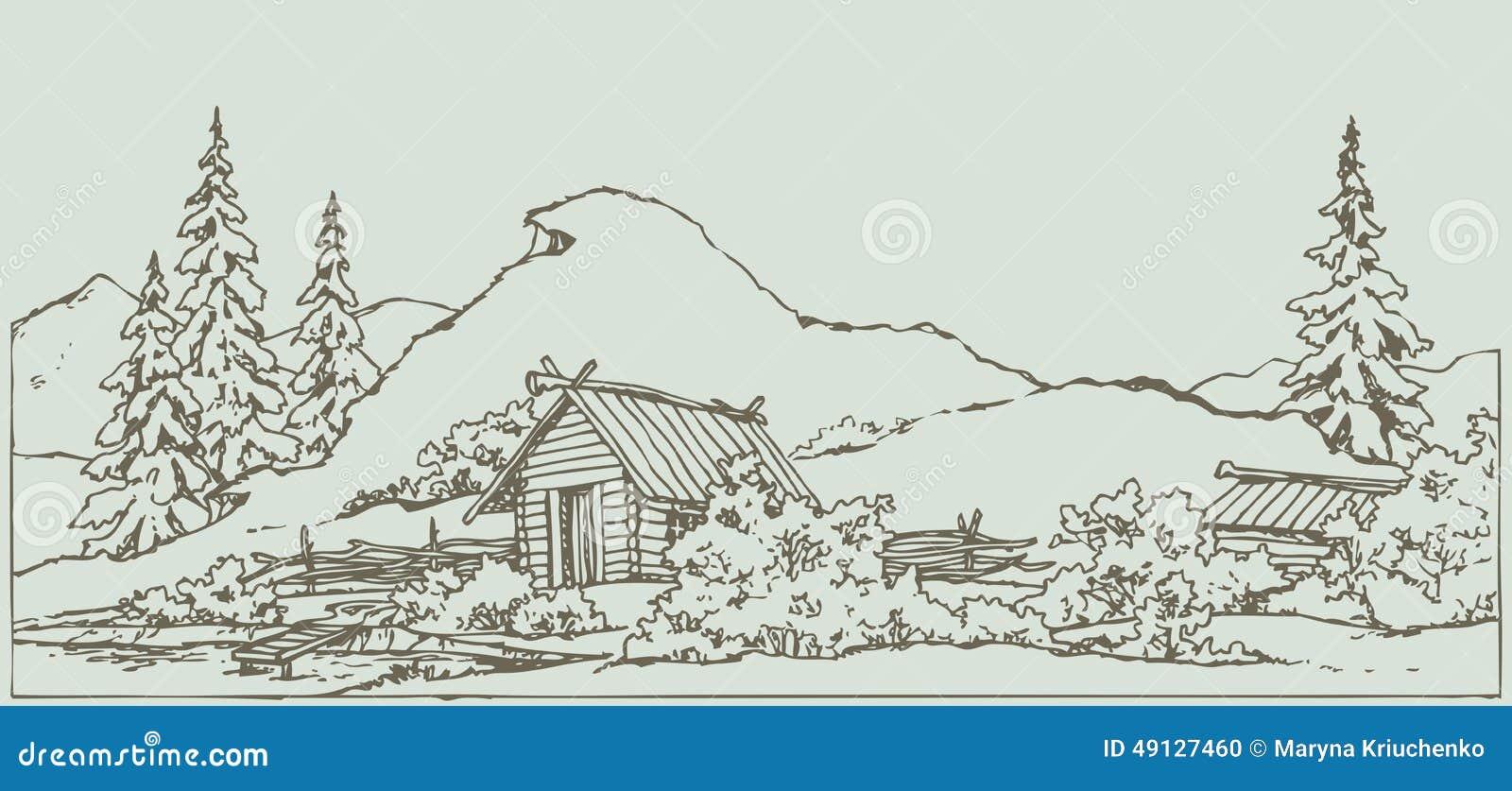 Contour Line Landscape Drawing : Vector drawing ancient rural landscape stock