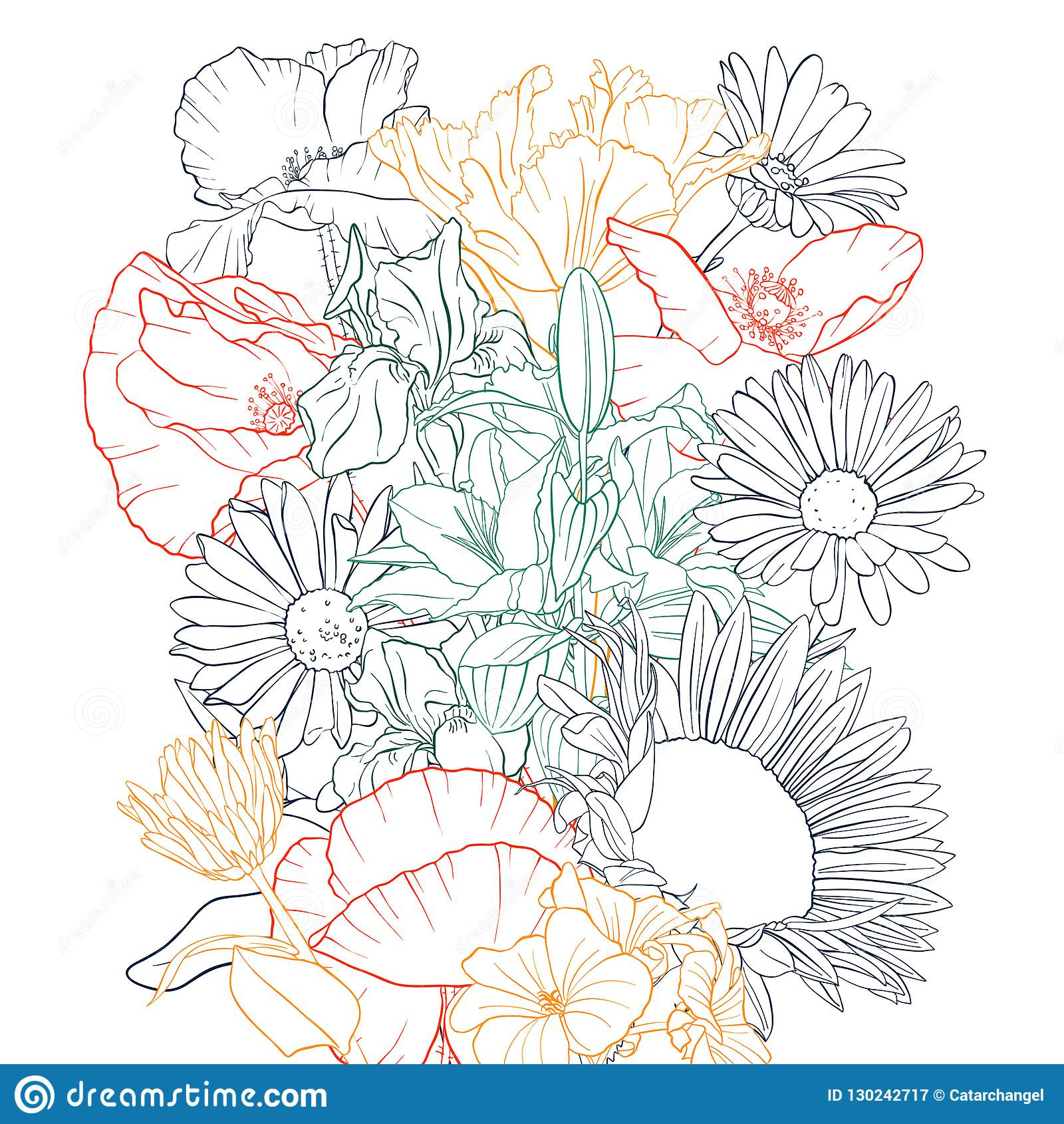 Vector Drawing Background With Flowers Stock Vector Illustration