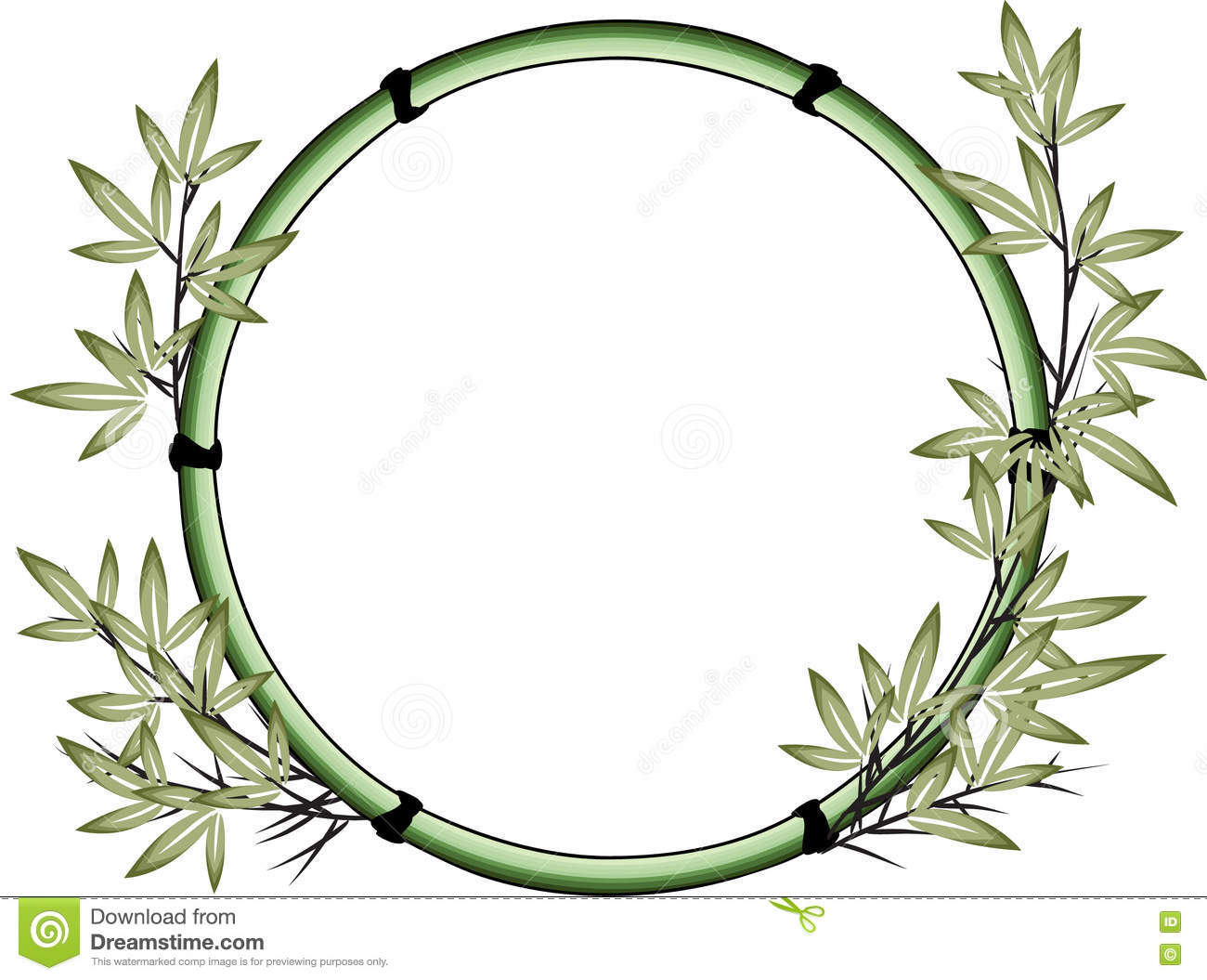vector drawing bamboo with circle border stock vector