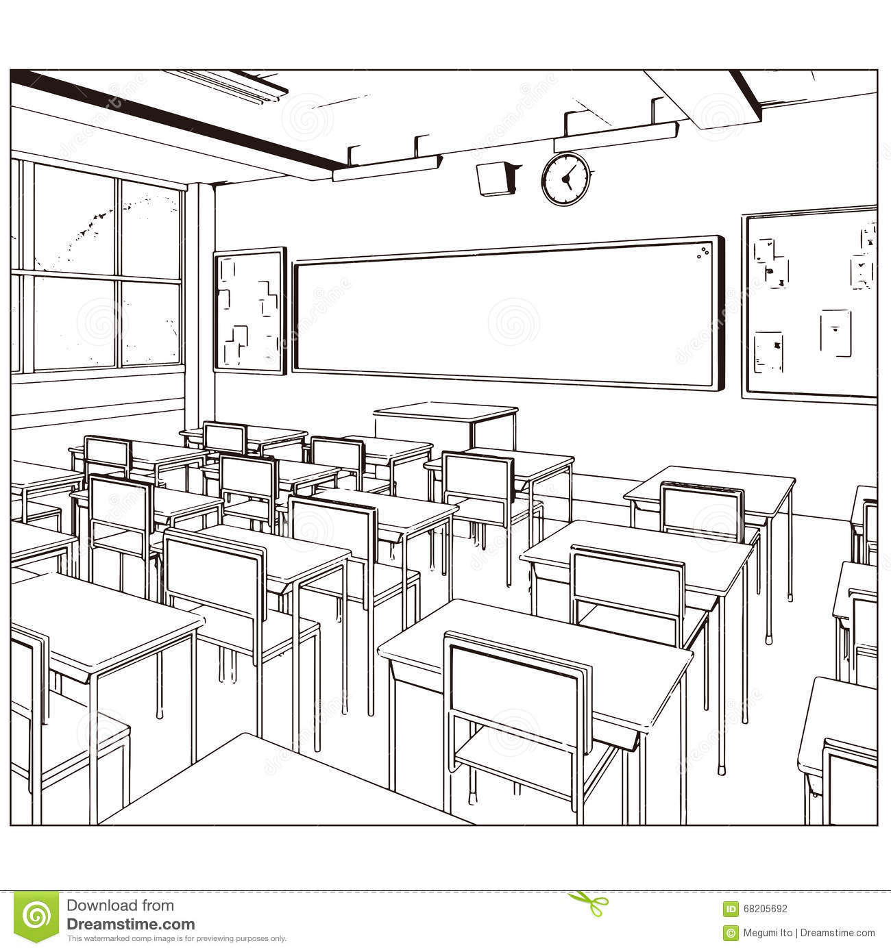 Architecture Drawing Class vector drawing of a class room stock vector - image: 68205692