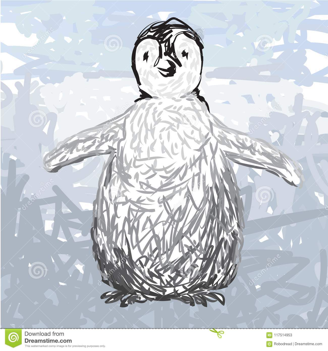 Vector Drawing Of A Cute Penguin Stock Vector Illustration