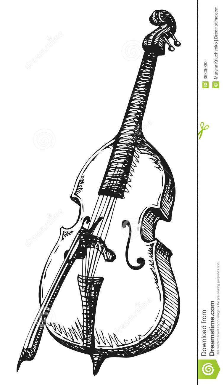 Vector Drawing Lines Game : Vector drawing double bass with a bow stock illustration