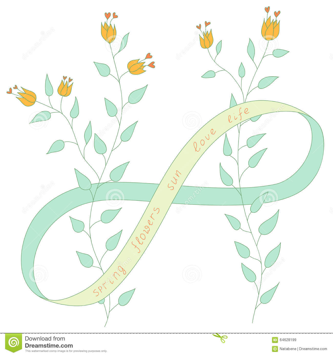 Vector Drawing Spring Flowers With Eight Of Ribbon Infinite Endless