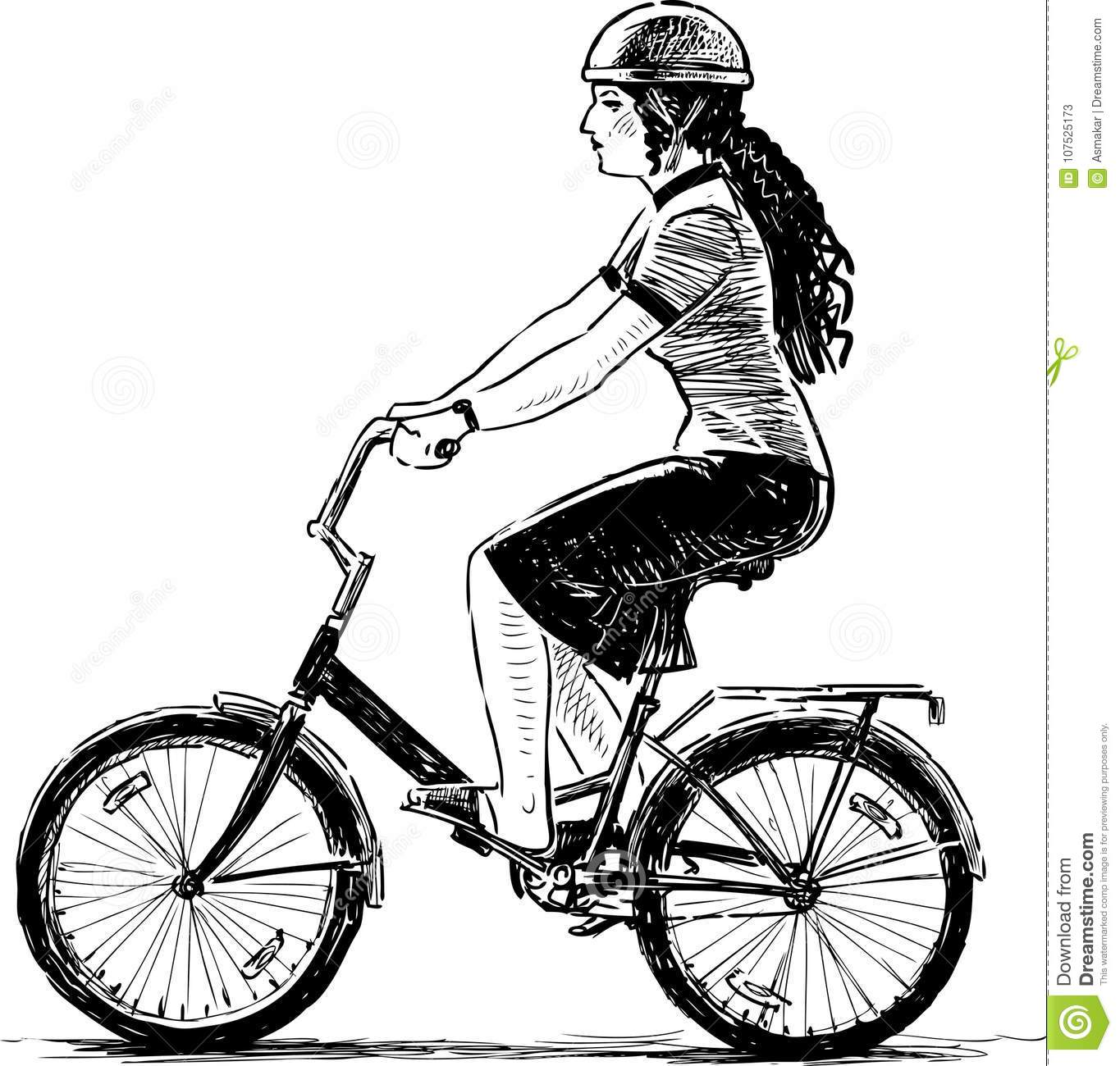 Young Woman Rides A Bicycle Stock Vector Illustration Of Drawn
