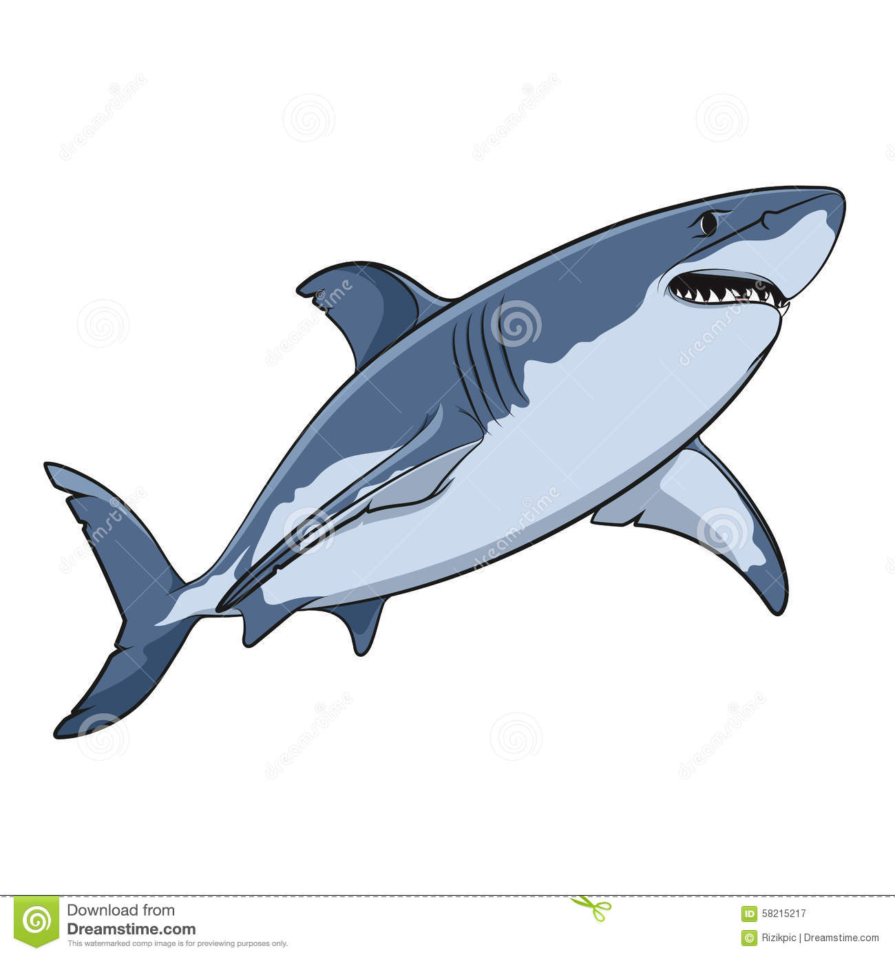Vector Drawing Of A Great White Shark EPS10 Stock