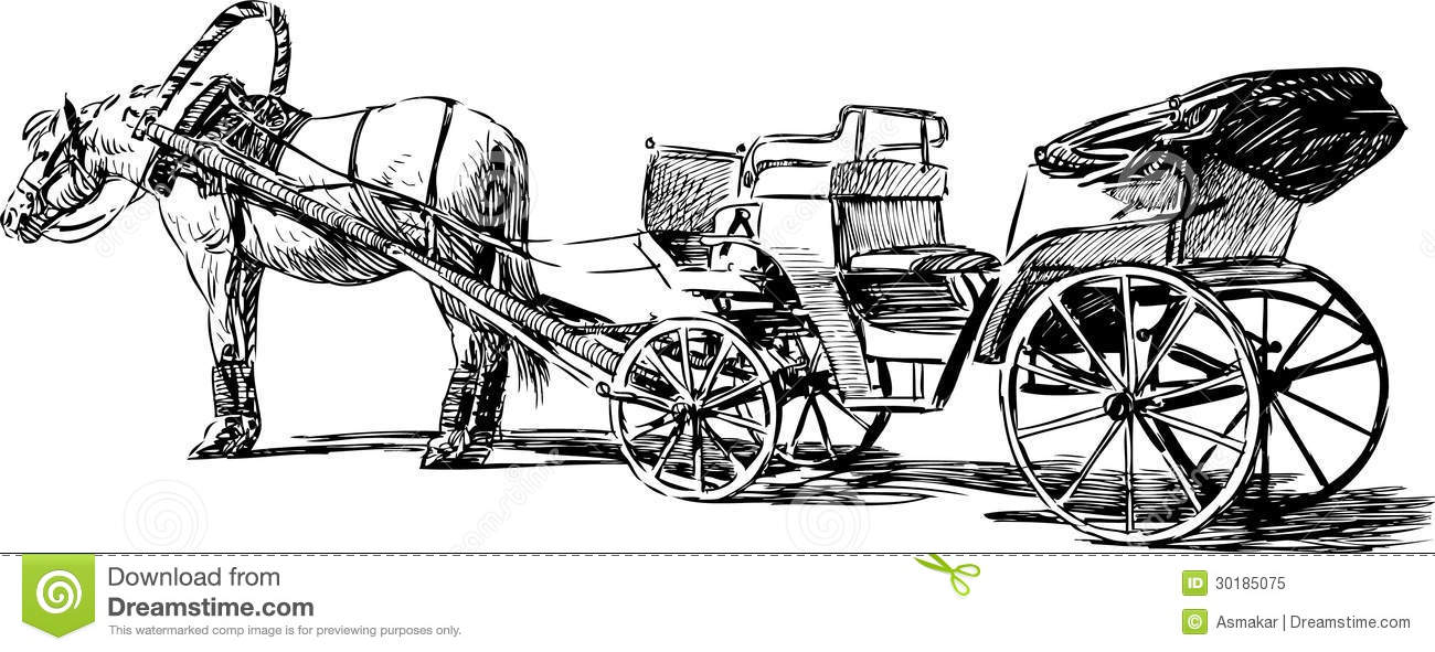 Horse And Carriage Drawing Horse And Carriage Drawing
