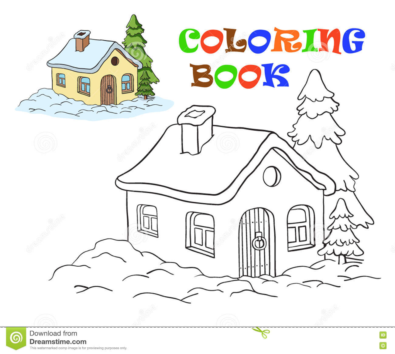 Vector Drawing Of A House Coloring For Kids Stock Illustration