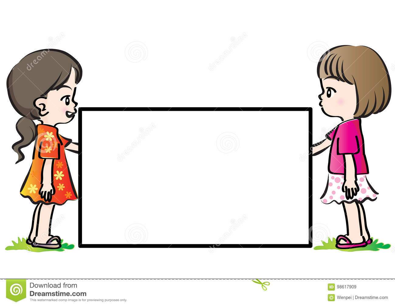 Vector Drawing Kids Holding Blank Card Stock Illustration