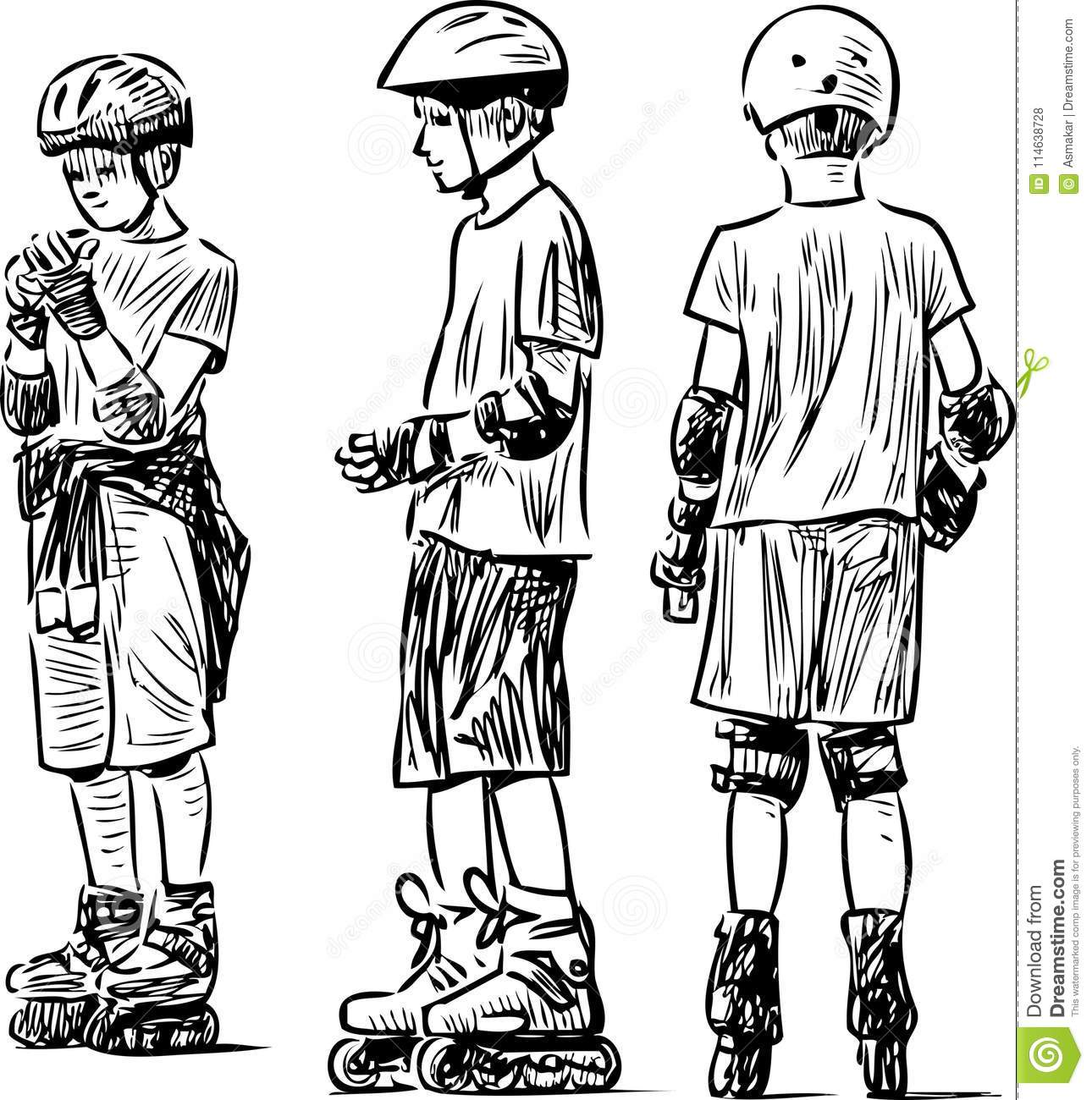 Sketch of the teen boys on the rollers